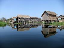Pile dwelling. On Inle lake, Myanmar Stock Photos