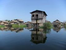 Pile dwelling. On Inle lake, Myanmar Royalty Free Stock Image