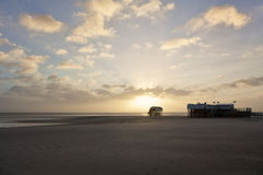 Pile dwellings at St Peter-Ording Royalty Free Stock Photography