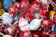 Pile of easter eggs from above as a background Royalty Free Stock Photos