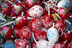 Pile of easter eggs from above as a background Royalty Free Stock Photography