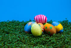 Pile of easter eggs on cress Stock Photo