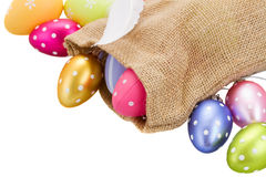 Pile of easter eggs in pouch Stock Image