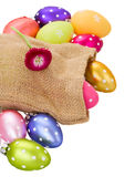 Pile of easter eggs in pouch Stock Photography