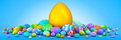 Pile of Easter eggs surrounding a giant golden egg. Pile of colorful Easter eggs surrounding a giant golden egg Royalty Free Stock Photography