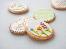 Pile of Easter sugar cookies glazed with royal icing. Stock Image