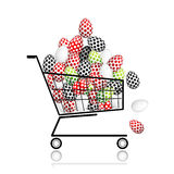Pile of eggs in shopping cart for your design Stock Images