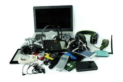 Pile of electronic waste, gadgets for daily use isolated on white background stock photos