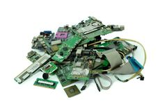 Pile of electronic waste, Motherboard computer, electronic equipment, Printed Circuit Board royalty free stock photo
