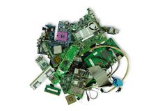Pile of electronic waste, Motherboard computer, electronic equipment, Printed Circuit Board stock image