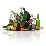 Pile of empty bottles. Illustration Stock Image