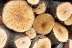 Pile en bois avec le plan rapproché de boucles Photographie stock libre de droits