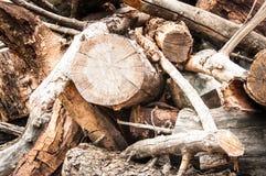 Pile en bois et plus petits bâtons Photos stock