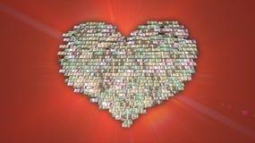 Pile en forme de coeur de l'argent liquide d'euro, de dollar et de Yens, amour pour l'argent, fonds de charité Photographie stock libre de droits
