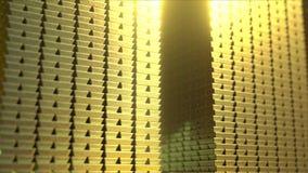 Pile enormi di barre di oro brillanti, rappresentazione 3D Fotografia Stock