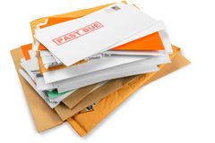 Pile of envelopes with overdue utility bills Stock Photography