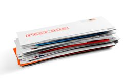 Pile of envelopes with overdue utility bills. Utility bill envelopes due overdue white background Stock Photo