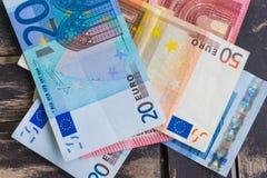 Pile of euro bank notes detail photo. Detail of ten, twenty and Royalty Free Stock Photos