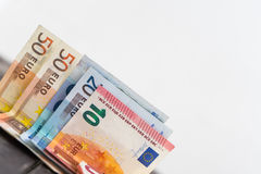Pile of euro bank notes detail photo. Detail of ten, twenty and Royalty Free Stock Images