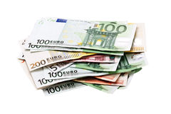 Pile of euro banknotes. Money isolated in white Stock Photography