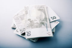 Pile of Euro banknotes Royalty Free Stock Images