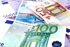 Pile of Euro bills. Lying in disorder Stock Photos