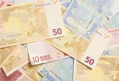 Pile of Euro Bills for Spending Royalty Free Stock Photography