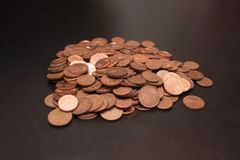 A pile of euro cents. On a table royalty free stock photo