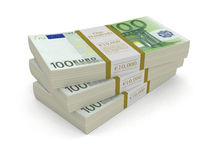 Pile of Euro (clipping path included) Royalty Free Stock Photo