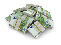 Pile of Euro (clipping path included) Stock Photos