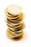 Pile of euro coins. On white royalty free stock image