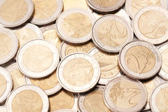 A pile of Euro coins. A pile of 2 Euro coins - a good financial background royalty free stock photo