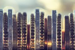 A pile of euro coins freely lying on the table. Close-up european money and currency. Stack tower background white business financial stacked finance wealth stock photo