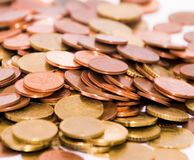 Pile of Euro Coins. Close up royalty free stock image