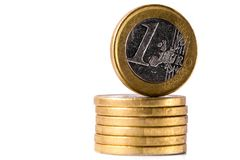 Pile of Euro coins. On the white background stock image