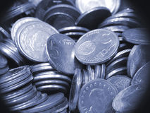 Pile of Euro currency coins. Pile of blue-gray colored five cents Euro currency coins Royalty Free Stock Photography