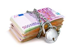 Pile of euro currency notes with padlock Royalty Free Stock Photography