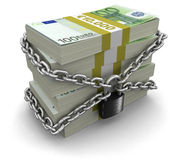 Pile of Euro and lock (clipping path included) Royalty Free Stock Photo
