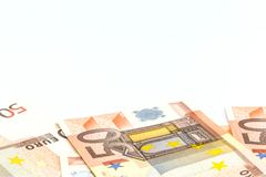 Pile of 50 euro money banknotes, business concept,white background Royalty Free Stock Photography