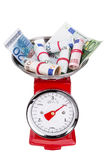 Pile of euro money on scales. Inflation in the euro area. Royalty Free Stock Image