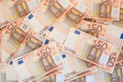 Pile of 50 euro notes. Business background Stock Photo