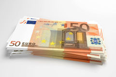 Pile of euros. Pile of 50 euros banknotes design in 3d Royalty Free Stock Photos