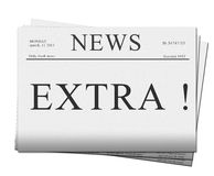 Extra issue of newspapers. Pile of extra issues of newspapers isolated on white background Royalty Free Stock Images