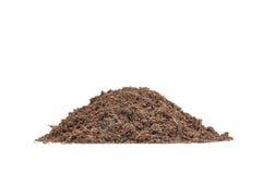 Pile of fertile soil. Heap of fertile soil on white background royalty free stock photo