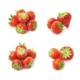 Pile of few strawberries isolated stock photo