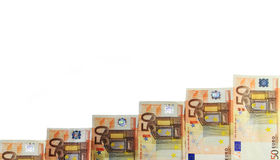 Pile of fifty euro banknotes stock image