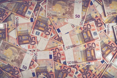 Pile of fifty euro banknotes Royalty Free Stock Images