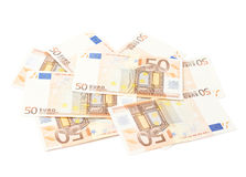 Pile of fifty euro notes Stock Photography