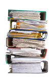 The pile of file binder with papers. Pile of file binder with a lot of documents Royalty Free Stock Image