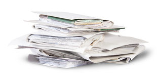 Pile of files in chaotic order rotated Stock Photos